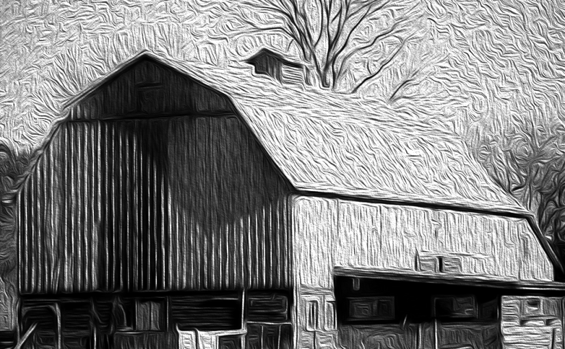 OIL PAINTING OF A OLD BARN IN CHILLIWACK